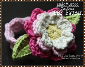 Flower Headband Crochet Pattern - AVA - 605 - Permission to Sell Finished Items
