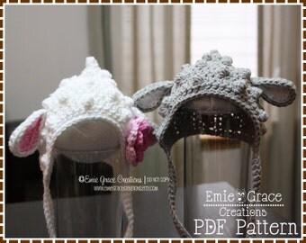 Crochet Lamb Hat Pattern, Baby Bonnet, LIL' LANIE LAMB - pdf 140