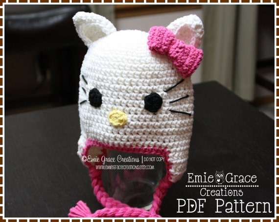 Crochet Cat Hat Pattern, Kitty Ear Flap, PRETTY MISS KITTY - pdf 111