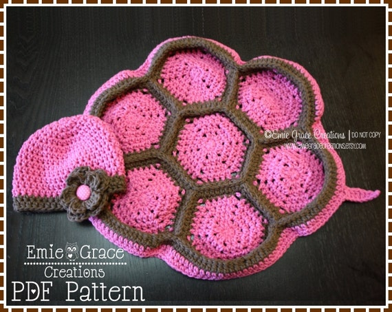Crochet Baby Turtle Hat And Shell Pattern Free : Crochet Turtle Shell Pattern Baby Beanie and by ...