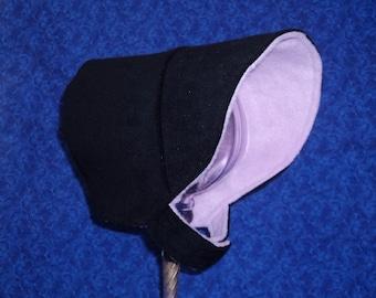 Winter Baby Bonnet Black Corduroy with Fleece