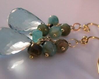 Amazonite Cluster earrings,cluster earrings, gemstone earrings, gold earrings, drop earrings, dangle earrings, gold earrings,amazonite