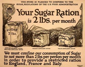 "Vintage Reproduction WWI Era Poster  ""Your Sugar Ration"" -  c1917"