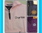 Monogrammed Rainjacket pullover Pack n go YOUTH Purple Red, Pink or Navy