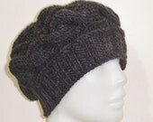 Grey Hat, Charcoal Grey Hat, Grey Cable Hat, Grey Winter Hat, Grey Knitted Hat, Womens Hat, Handmade, Fashion, Hand Knitted, Gift