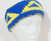 Womens or Mens Headband, Delta Delta Delta, Tri Delta in Blue and Yellow  - WINTER SALE