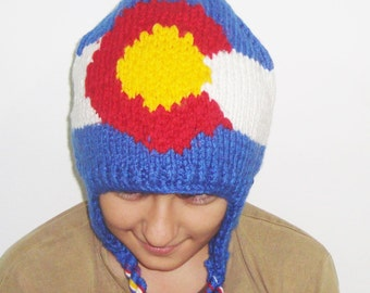 Colorado Flag hand knit hat with ear flap