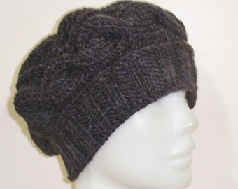 Hand Knitted Hat Women Hat Cable Knit Hat Slouch Hat Winter Hat - Charcoal Hat - Winter Hat - Free Fast Shipping - christmas gift for mom