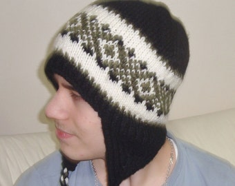 Hand Knit Hat, Mens Hat, Ear Flap Hat, Black Winter Hat, Winter Accessories Mens