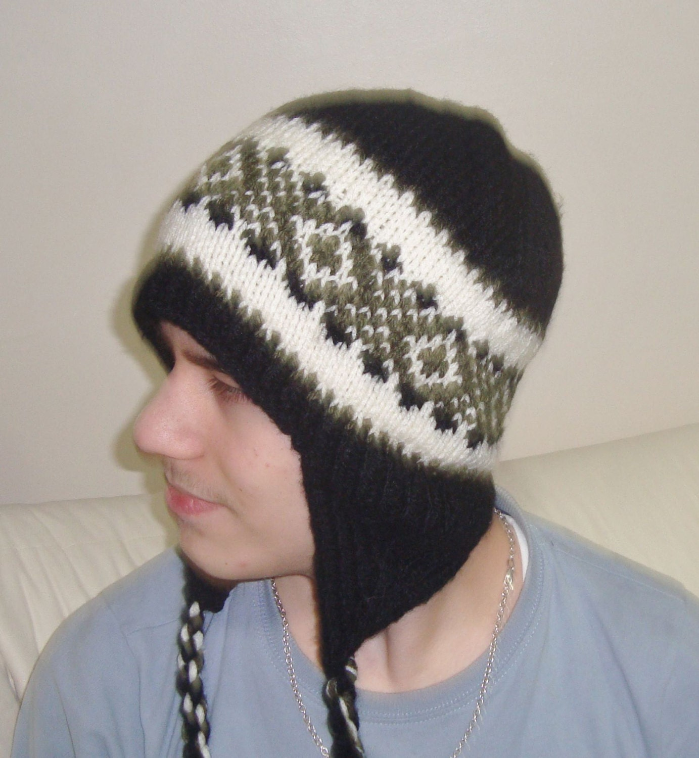 Knitting Pattern Beanie With Ear Flaps : Hand Knit Hat Mens Hat Ear Flap Hat Black Winter Hat