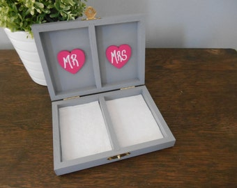 Rustic Personalized Ring Box His and Her's Custom color engraved, ring bearer pillow, chalkboard or wood gray and yellow wedding