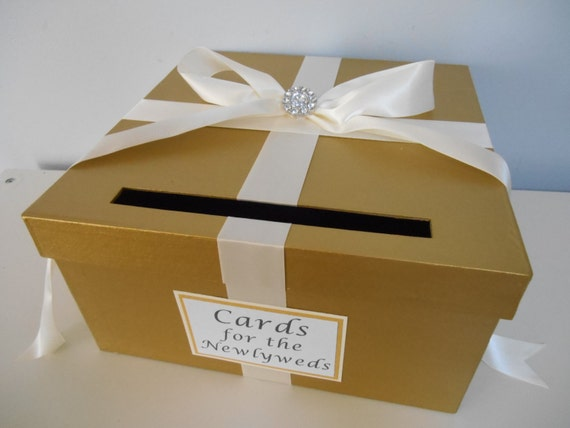 Gold Wedding Gift Card Holder : Gold Wedding Card Box with Personalized Tag Large 12 inch CardBox ...