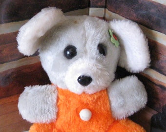 Vintage Orange and Gray Mouse by Hugs.Made in Korea.Stuffed animal.9 inches tall.
