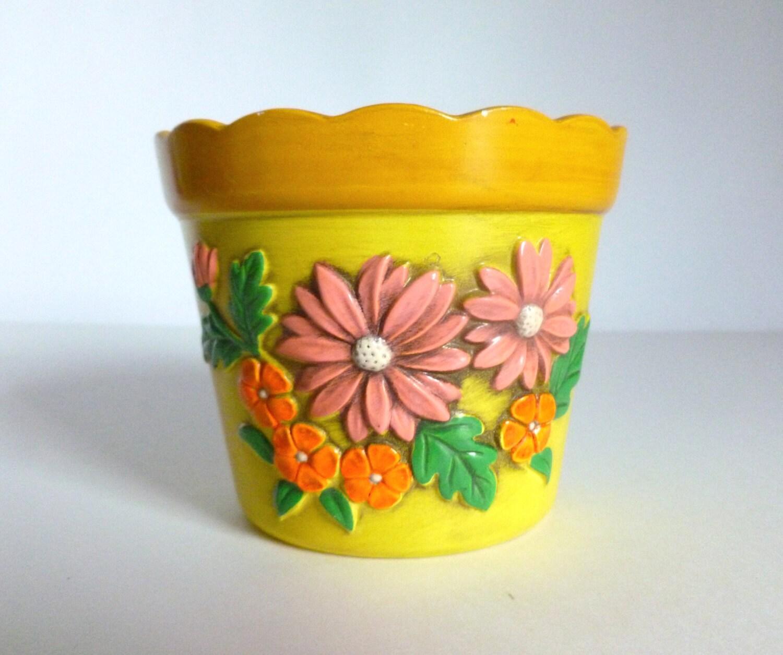 Vintage 1970's Yellow Ceramic Scalloped Flower Pot By JoeBlake