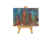art card original cityscape - mixed media ink and watercolor ACEO - modern skyline art city art card