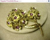 March Sale Vintage Rhinestone Brooch - A Branch of Crystal, Violet Flowers, circa 1960s  -  Flat Rate Shipping on Most Jewelry