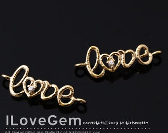 NP-1488 Gold plated, Love, Pendant, 2pcs