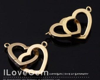 NP-1490 Gold plated, Double Heart, Pendant, 2pcs