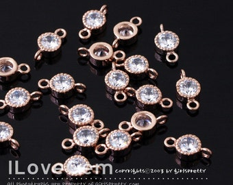 NP-1173-04 Rose Gold plated, 4mm CZ, connectors, 4pcs