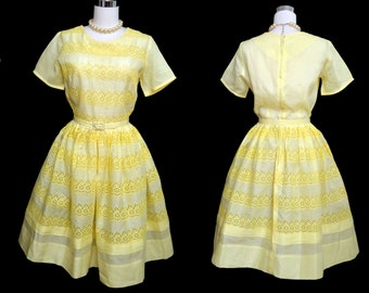 Vintage 50s Dress // 1950s Yellow Eyelet Dress with Belt // Full Skirt Dress