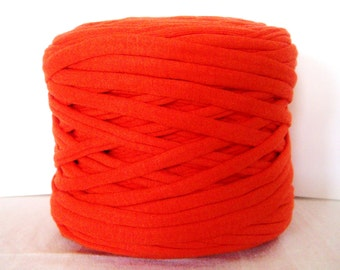 Orange T-Shirt Yarn, Cotton T-Shirt Tricot, Fabric Jersey Ideal for Necklaces, Bracelets, Rugs and Bags - 2,7m/3 yards(1 piece)