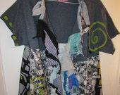 Gray spiral eco Friendly open funky tee fits XL 1X