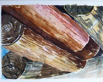 Original watercolor painting, Rustic landscape, Log Pile