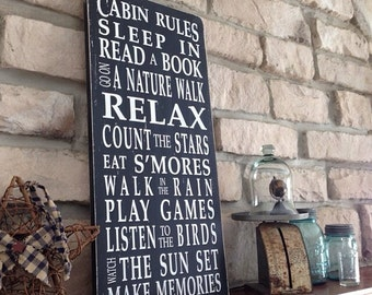 Cabin Rules Painted Typography Wood Word Art Sign by Barn Owl Primitives