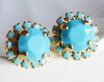 Miss Tur Earrings Turquoise Stud Earrings Rhinestones Swarovski Turquoise Post  Pavé Earrings
