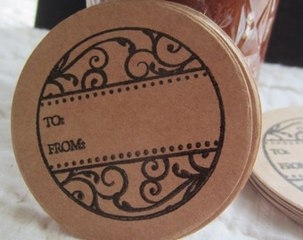 To-From Mason Jar Stickers-Canning Jar Labels-Circle Kraft Colored Stickers-Homestead Canning Stickers