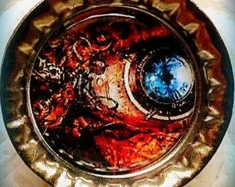 Surreal Blue Steampunk Eye Bottle Cap Magnet