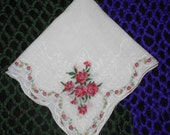 Vintage Wild Rose Hanky with Scalloped Edges
