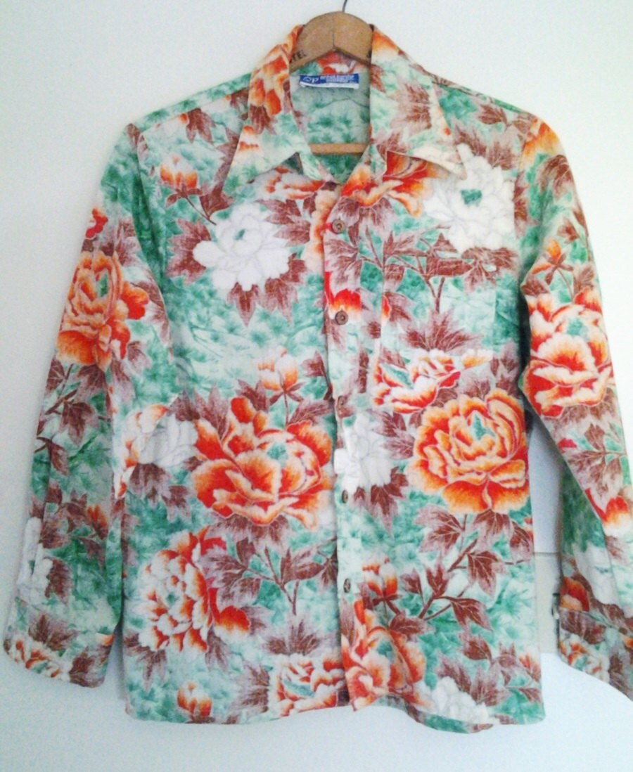 Vintage 1980's OP Hawaiian Shirt L Mens Ocean Pacific Heavy Cotton thread large