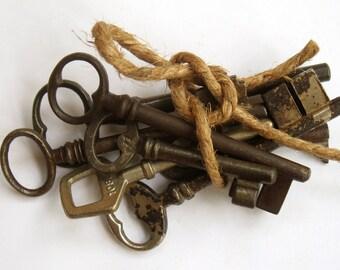 vintage french keys - large old ornate keys - 7 vintage iron skeleton keys - vintage supplies (C-17d)