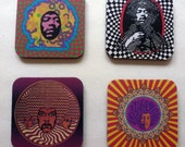 Jimi Hendrix Psychedelic Pop Art Drink Coaster Set - Classic Rock Music Gift - Great For Housewarming, Bar & Coffee Table Display - Set Of 4