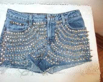 Metal Studded Denin Daisey Dukes Shorts