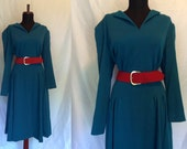 SALE 1980s Vintage Blue Wool Dress with Red Belt. Fully Lined in Silk. Below the Knee Length. Classic Style. Size Large. By Haulinetrigere