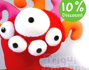 Ishut Monster Ojiloqui . a amazing eyes plush. bug alien monster. red, orange and pink.