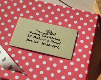 Snail Mail Return Address Olive Wood Stamp