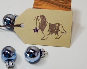Charity King Charles Cavalier Spaniel and Festive Star Olive Wood Stamp