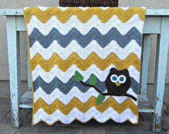 Owl Chevron Baby Blanket Gray Mustard Yellow Baby Shower Gift