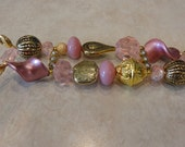 Beaded Interchangeable double strand gold and pink watch band