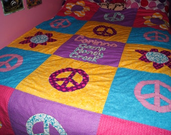 Peace Signs and Flowers Minky Blanket, Twin Size Quilt with Your Choice of Colors to Match any Decor, Personalized, 60 x 90