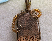 Black Palm Exotic Wood Pendant, Brown W beads wire wrapped watercolorsNmore.