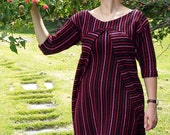 SALE - Meerwiibli Black, Red and Pink Berry Tracks Wrap Dress - Small in stock