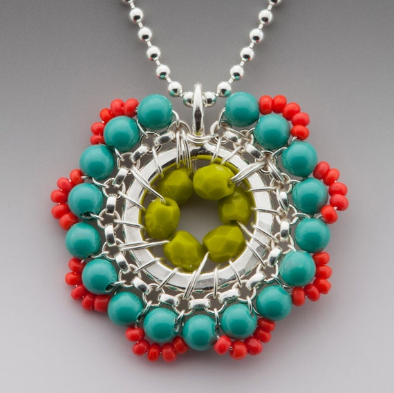 Bloom Necklace in Turquoise, Coral and Lime Green