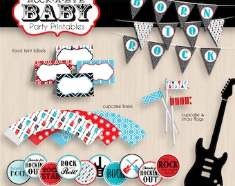ROCK-A-BYE BABY Shower Printable Package in Red, Turquoise Blue, and Black- Instant Download