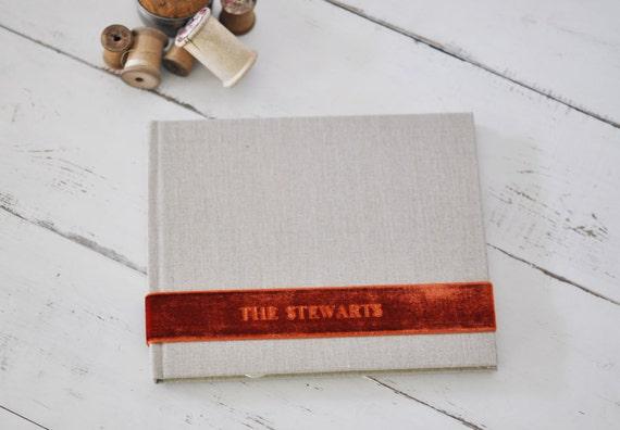 Custom Wedding Album, a meaningful Keepsake Photo Album - Velvet Sash design by ClaireMagnolia