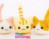 DIY handmade Wool Felt kit Three Little Cat -  Japanese kit package H441-367