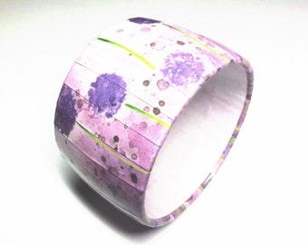 Water Color Purple Dandelions Bangle Bracelets
